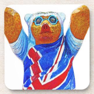 Teddy Bear,Union Jack (UK) Flag, White Back Beverage Coaster