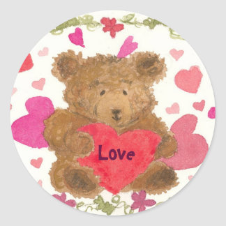 Teddy Bear Valentine Classic Round Sticker