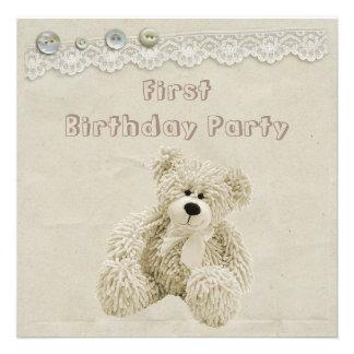 Teddy Bear Vintage Lace 1st Birthday Party Invitations