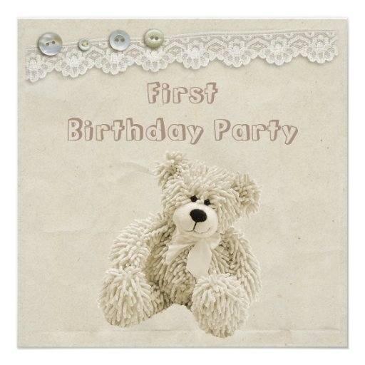 Teddy Bear Vintage Lace 1st Birthday Party Invitations