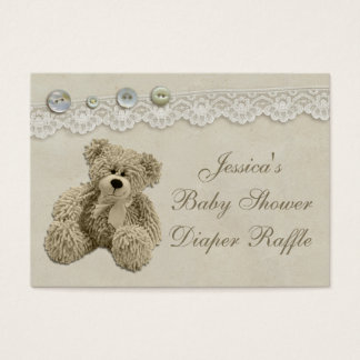 Teddy Bear Vintage Lace Diaper Raffle Business Card