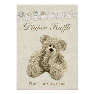 Teddy Bear Vintage Lace Diaper Raffle Sign Card