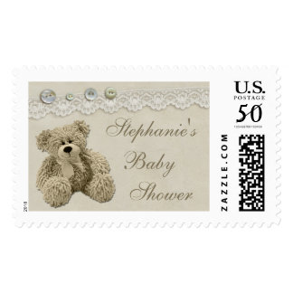 Teddy Bear Vintage Lace Personalized Baby Shower Postage