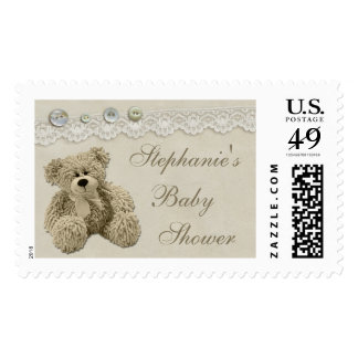 Teddy Bear Vintage Lace Personalized Baby Shower Postage Stamp
