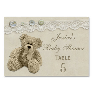 Teddy Bear Vintage Lace Personalized Baby Shower Table Cards
