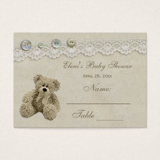 Teddy Bear Vintage Lace Seating Card