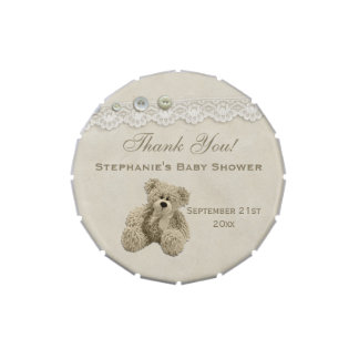Teddy Bear Vintage Lace Thank You Favor Jelly Belly Candy Tin
