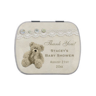 Teddy Bear Vintage Lace Thank You Favor Jelly Belly Tin