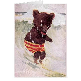 Teddy Bear Wades in the Surf Card