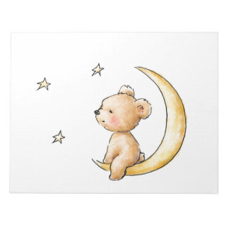teddy bear watching the stars note pad