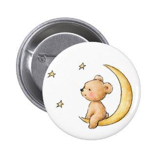 teddy bear watching the stars pinback button