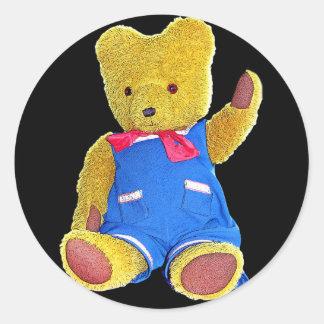 Teddy Bear Waving, Black Back, Style 2 Classic Round Sticker