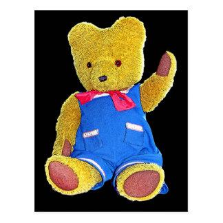 Teddy Bear Waving, Black Back, Style 2 Postcard