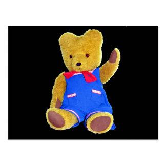 Teddy Bear Waving, Black Back, Style 3 Postcard