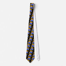 Teddy Bear Waving, Black Back, Style 3 Tie