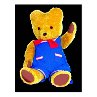 Teddy Bear Waving, Black Background Postcard