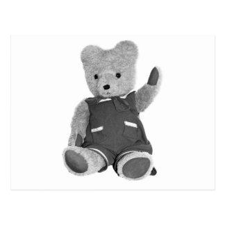 Teddy Bear Waving, Black & White, Full Postcard
