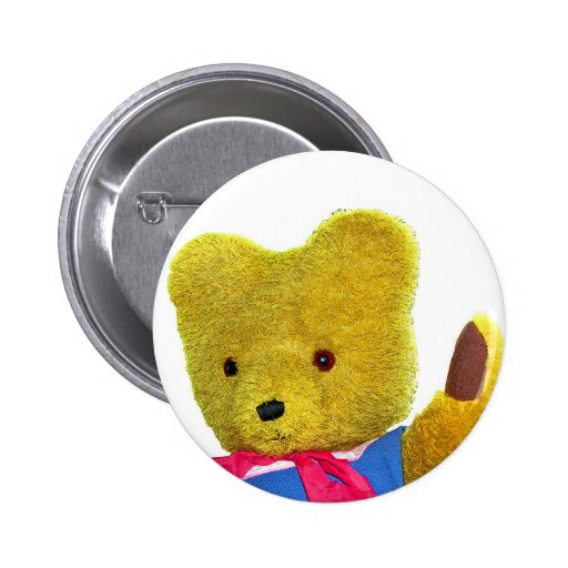 Teddy Bear Waving, Head and Shoulders (1) Pinback Button