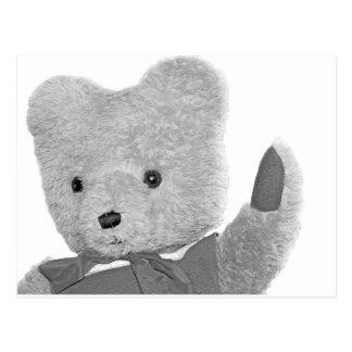 Teddy Bear Waving, Head / Shoulders, B & W Postcard