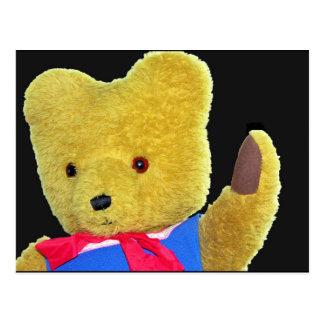 Teddy Bear Waving, Head / Shoulders, Black Back(3) Postcard
