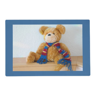 Teddy Bear Wearing a Scarf Dark Blue Placemat