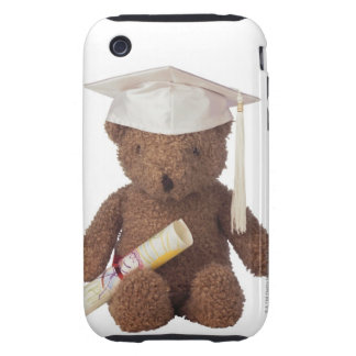 Teddy bear wearing mortarboard and with crayon iPhone 3 tough cover