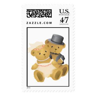 Teddy Bear Wedding Couple Postage Stamp