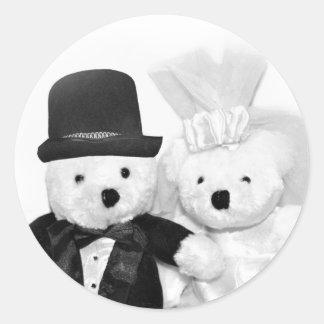 Teddy Bear Wedding Classic Round Sticker