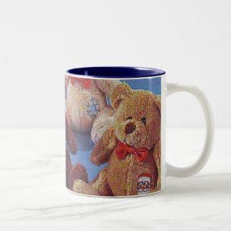 Teddy Bear, White & Blue Cup Coffee Mugs