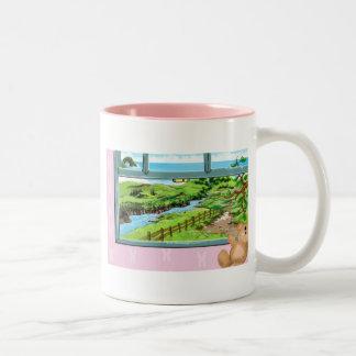 Teddy Bear window sill Two-Tone Coffee Mug