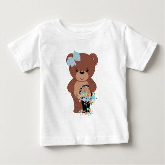 Teddy Bear With A Basket of Flowers Baby T-Shirt