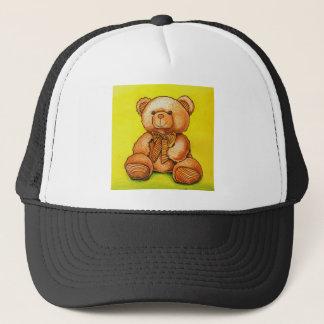 teddy bear with a bow tie trucker hat