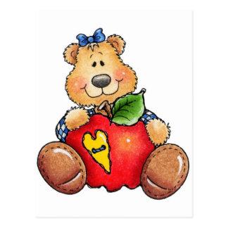 Teddy Bear with Apple Postcard