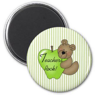 Teddy Bear with Apple Teachers Rock 2 Inch Round Magnet