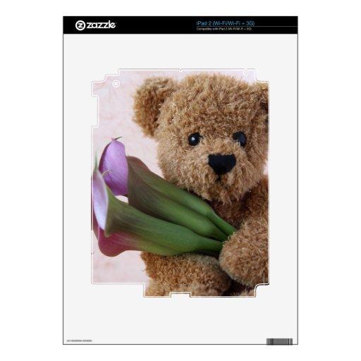 teddy bear with calla lilies iPad 2 skin