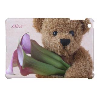 teddy bear with calla lilies iPad mini case