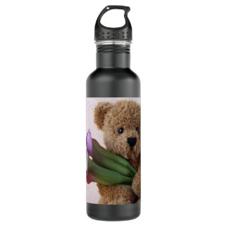 teddy bear with calla lilies stainless steel water bottle
