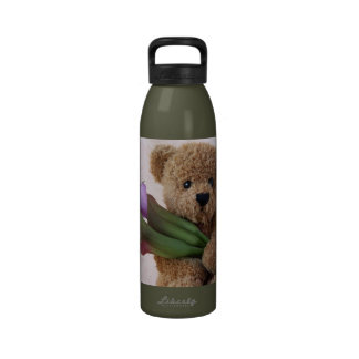 teddy bear with calla lilies water bottle