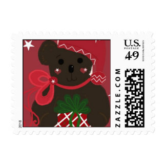 Teddy Bear with Christmas Package Stamp