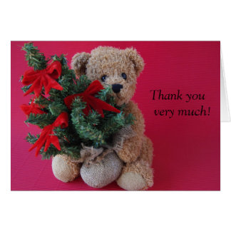 teddy bear with Christmas tree thank you card