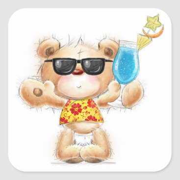 Beach Themed Teddy Bear with Cocktail and Sunglasses Sticker