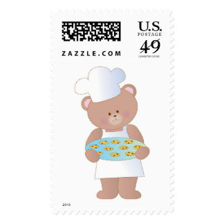 Teddy Bear with Cookies Postage Stamp