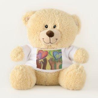 Teddy Bear With Diversity Hearts Art Shirt