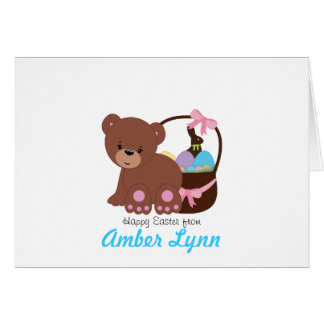 Teddy Bear With Easter Basket Greeting Card