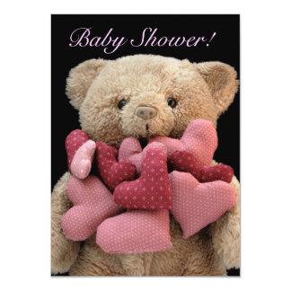 Teddy bear with fabric hearts baby shower card
