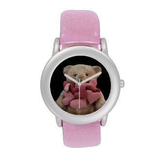 teddy bear with fabric hearts glitter watch