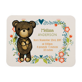 Teddy Bear with Fancy Florals baby Birth Magnet