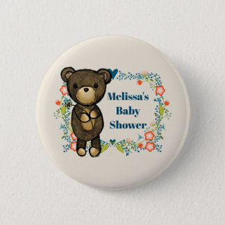 Teddy bear with Floral Wreath Baby Shower Pinback Button