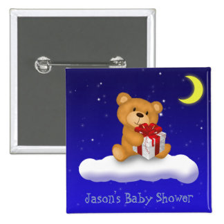 Teddy Bear with gift - Baby Shower Button