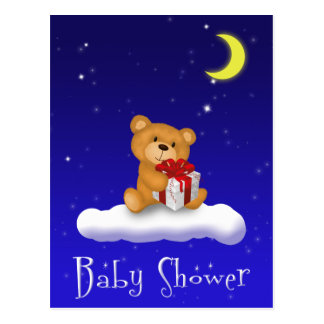 Teddy Bear with Gift - Baby Shower Postcard